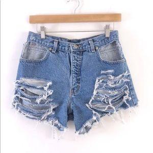 Vintage Sexy Cutout Pockets Shorts, High Waisted